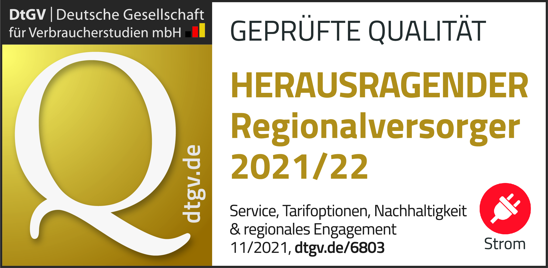 Siegel Deutschlands beste Regionalversorger 2020/21